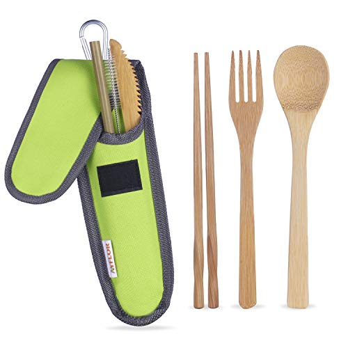 Bamboo Travel Utensils - AYFLOR Reusable Bamboo Cutlery Set - Portable Bamboo Flatware Includes Bamboo Fork Spoon Knife Chopsticks Straw and Straw Brush Green