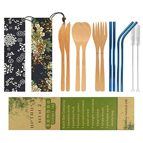 UPTRUST 2 Set Bamboo Cutlery Set Bamboo Utensils 6-piece Reusable Bamboo Flatware Set Travel Utensils 78 Inches Bamboo Knife Fork Spoon 3 colors Metal Straw with Clean Brush Blue Straw