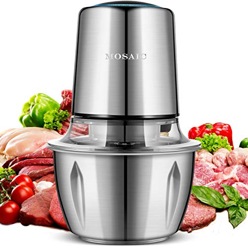 Electric Food Chopper MOSAIC 400W Food Processor with Titanium Coating Blades and 15L Stainless Steel Bowl 2 Speed Kitchen Meat Grinder Mincer for Fruit Cheese Nuts - Upgrade Version