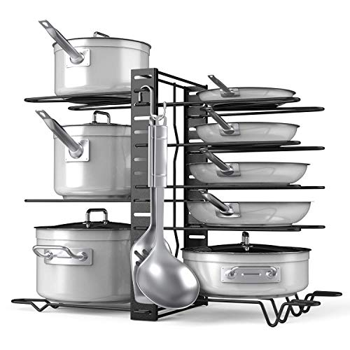 Pot Rack Organizer-Adjustable 8 Pots and Pans Oragnizer Kitchen Counter and Cabinet Pot Lid Holder with 3 DIY Methods 6 Hooks Included