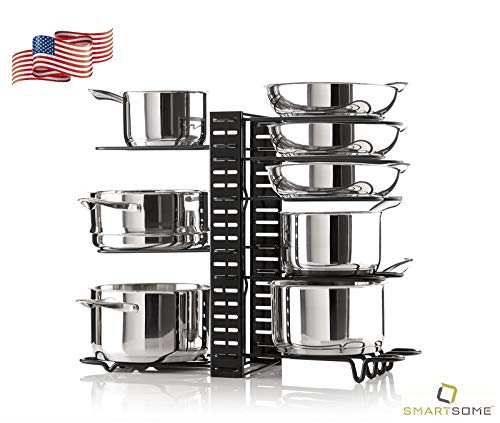 Smartsome Cabinet Organizer - Adjustable Pot Rack Holds A Minimum Of 8 Pots Pans And Lids - 3 Different DIY Ways To Use The Pots And Pans Organizer Including On The Counter