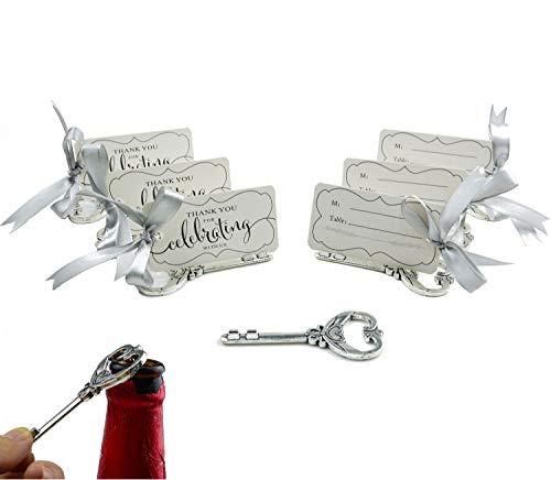50pcs Multi Function Vintage Skeleton Key Bottle Opener Place Card Holders for Weddings Table Name Cards for Guest Souvenir Antique Silver