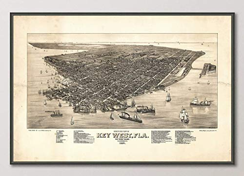 Vintage Key West Florida Birds Eye View Map Reproduction Art Print from 1884 Unframed Wall Art Decor Poster Sign All Sizes