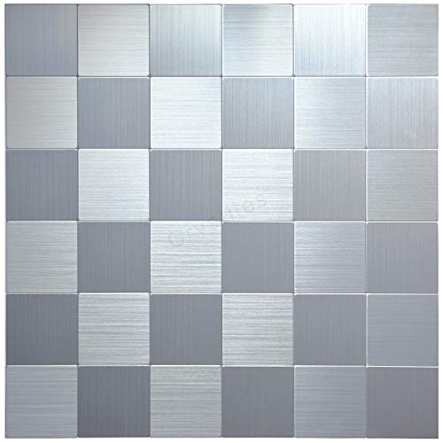 Crystiles Peel and Stick Mosaics Brushed Stainless Aluminum Wall Tile Backsplash Stick On Metal Tiles 12 X 12 Item 61212620 1 Sheet Sample