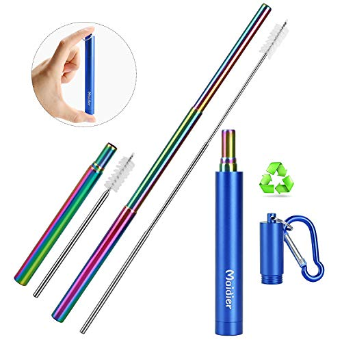 Maidier Telescopic Metal Straws with Case - Rainbow Color Stainless Steel Straw Portable Straws Drinking Reusable Stainless Steel with Aluminum Case Cleaning Brush Keychain Blue