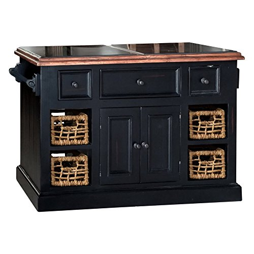 Kitchen Island No Assembly Required large granite top kitchen island in black finish | kitchen island