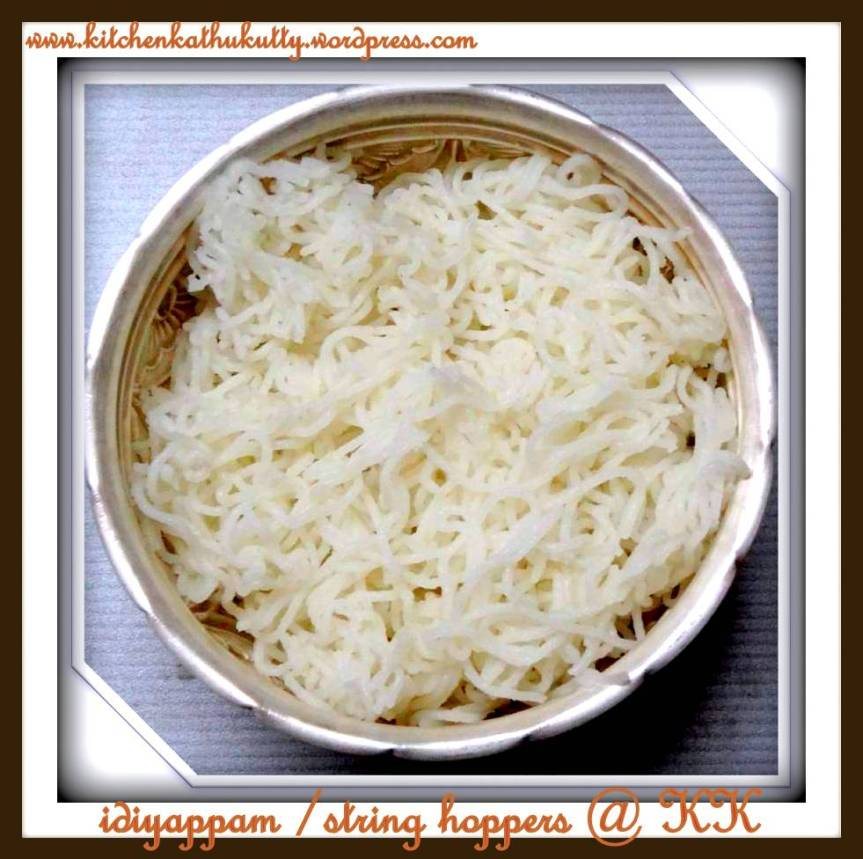 Idiyappam/Sevai/Sandhavai/String hoppers/Rice Noodles-Traditional Method