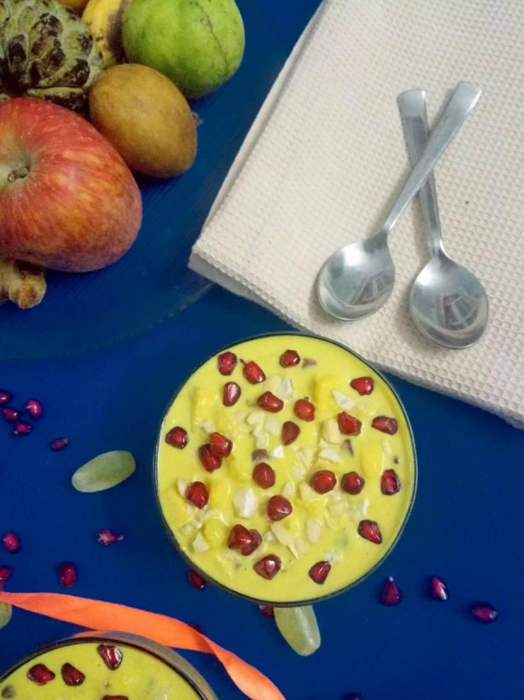 Golden Milk Fruit Custard Recipe