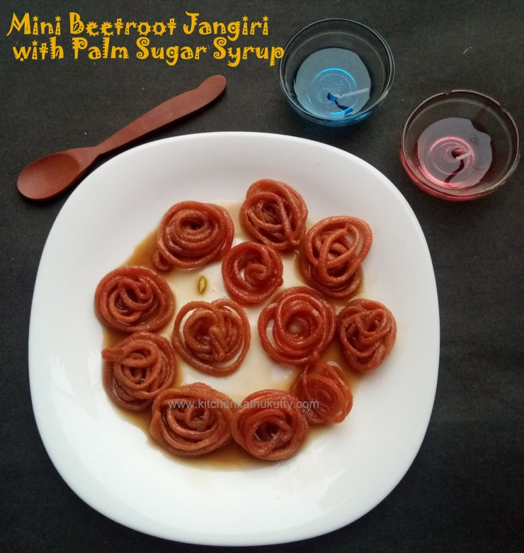 Jangiri Recipe-Beetroot Jangiri with Palm Sugar Syrup