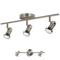 3 Light Track Lighting Adjustable Wall or Ceiling Spot Light Fixture, Brushed Nickel & Chrome