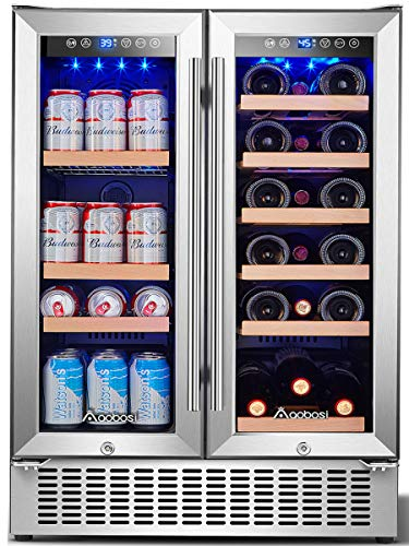 Aobosi 24 Inch Beverage and Wine Cooler Dual Zone 2-IN-1 Wine Beverage Refrigerator with Independent Temperature Control Blue LED Light Quiet Operation Energy Saving Hold 18 Bottles and 57 Cans