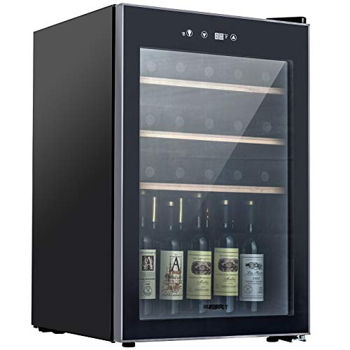 KUPPET Compressor 36 Bottle Wine Cooler Counter Top Wine CellarChiller Wine Refrigerator Single Zone with Touch Control Quiet Operation Fridge Wooden shelf