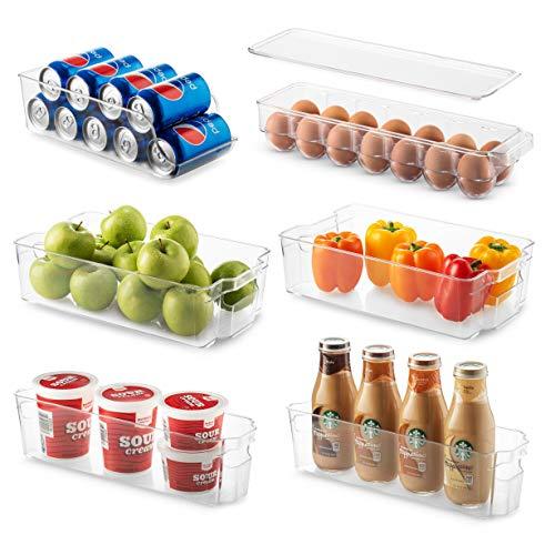 Set Of 6 Refrigerator Organizer Bins - Stackable Fridge Organizers for Freezer Kitchen Countertops Cabinets - Clear Plastic Pantry Storage Racks