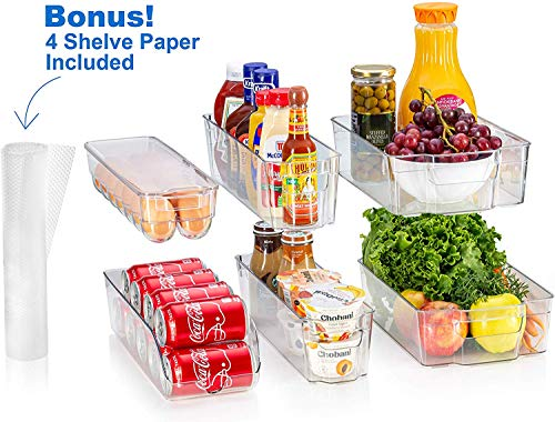 fridge bins and organizers Set of 10 - Stackable refrigerator bins set includes 6 bins for food containers and 4 precut shelf liners for fridge shelfs