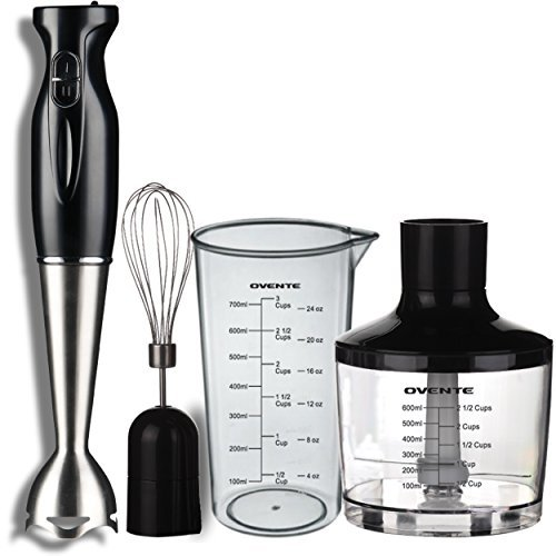 Ovente 4 in 1 Immersion Hand Blender Set with 3 Premium Attachments of BPA-Free Food Processor Egg Whisk and Mixing Beaker 300 Watts 304 Grade Stainless Steel Black HS585B