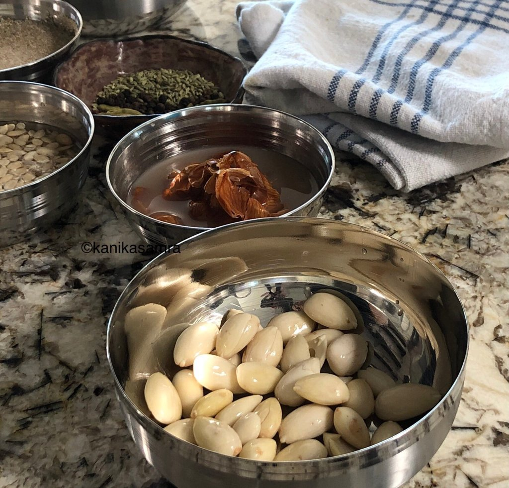 Blanched almonds ready to use for Thandai