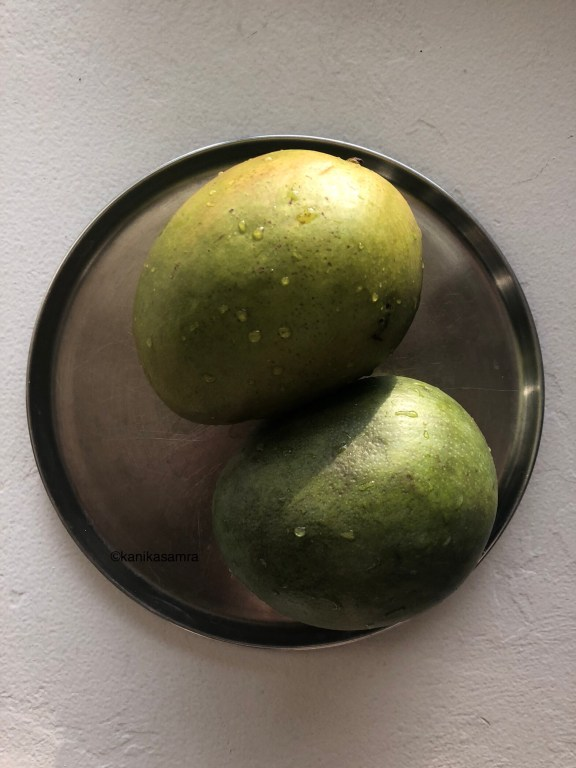 Unripe mangoes for making aam panna