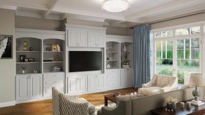 Great Room Built-Ins Torrance Dove - Kitchen Envy Cabinets