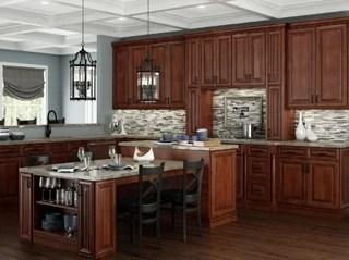 Saddle Stained Framed Kitchen Cabinets - Kitchen Envy Cabinets