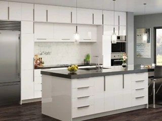 Modern Frameless Kitchen Cabinets Gloss White - Kitchen Envy Cabinets