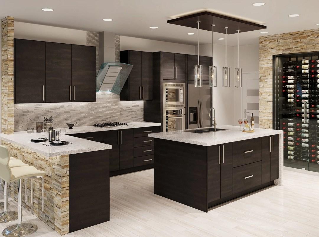 Torino Dark Wood Kitchen Cabinets - Kitchen Envy Cabinets