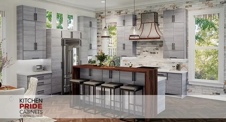 Torino Grey Wood Modern Frameless Kitchen Cabinets - Kitchen Envy Cabinets