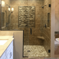 Moline, IL bath remodel with warm finishes