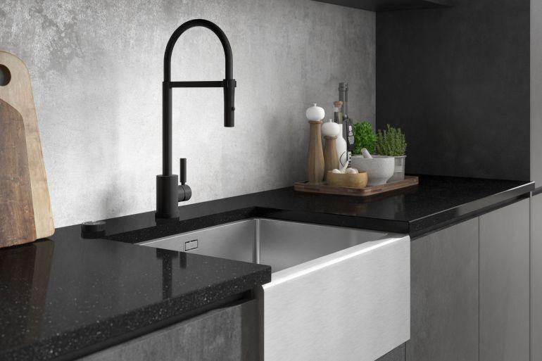 Black to black matt Kitchen taps