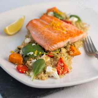 Pan Fried Trout with Quinoa, Roasted Vegetables and Feta