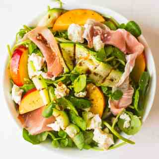Prosciutto, feta and nectarine salad with griddled courgette