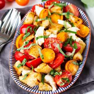 Panzanella Caprese with Garlicky Croutons + a Mindful Eating Update