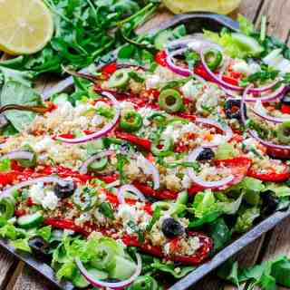 Feta and Couscous Stuffed Roasted Romano Peppers