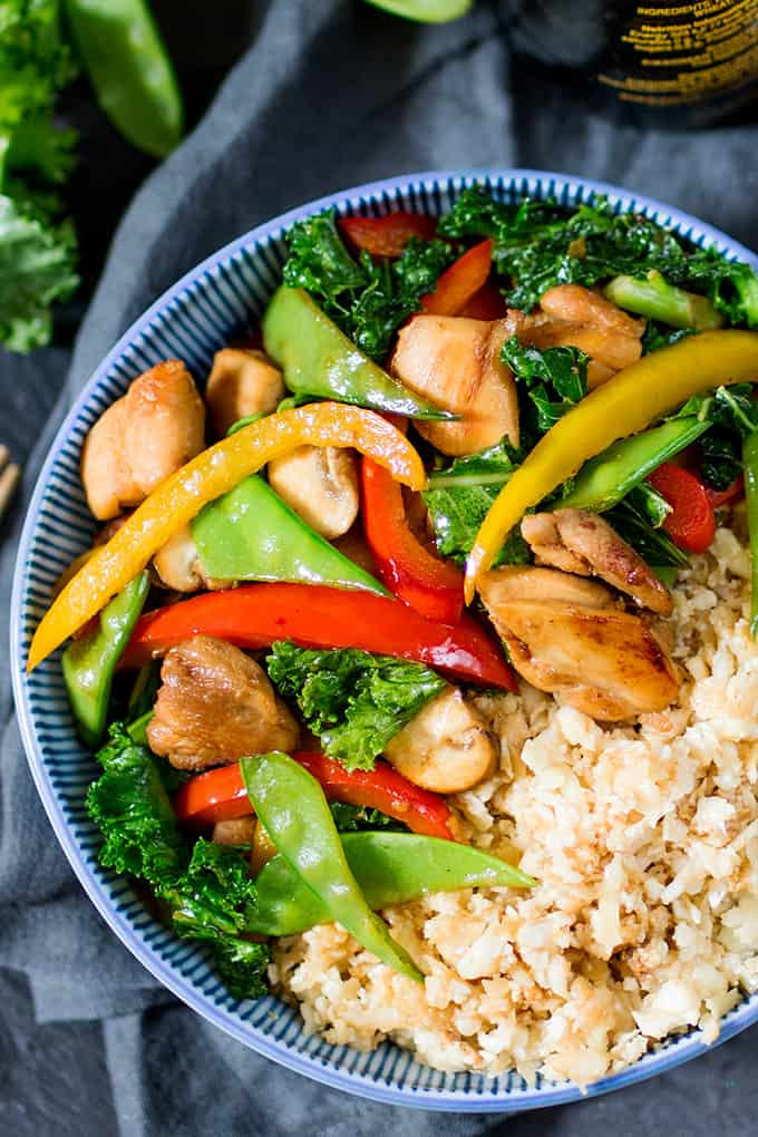 That Chinese take-away might be tempting, but this Honey and Garlic Stir Fry with Cauliflower Egg Fried Rice is just as tasty, and so much better for you!