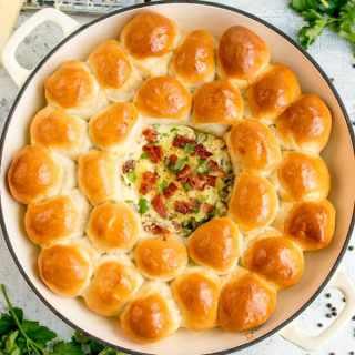 Dough Balls with Creamy Spinach and Bacon Dip