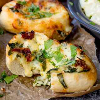 Cheese Stuffed Bread with Spinach and Sun Dried Tomato + Video!