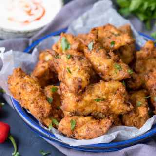 Crispy Chicken Tenders with Garlic Chilli Dip! My technique for chicken that's juicy on the inside, crunchy on the outside and packed with flavour!