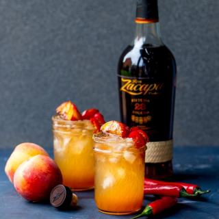 Rum and Peach Cocktail with Chilli Syrup