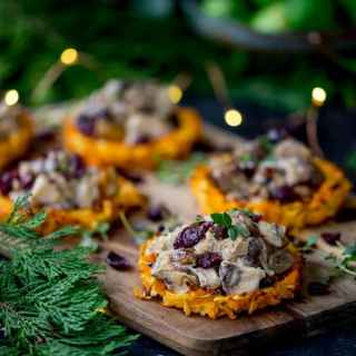 Parsnip and Carrot Rostis with Mushrooms and Wensleydale Sauce + Video