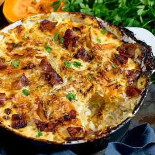 Squash and Potato Gratin with Bacon
