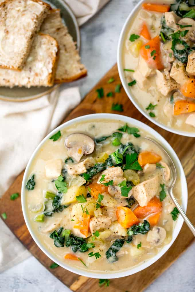 This Creamy Chicken and Vegetable Soup uses milk instead of cream for a lighter dinner!