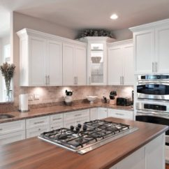Wood Countertops Kitchen Flat Front Cabinets Spotlight On Saver A Wooden Butcherblock Countertop Finished With Dark Brown Stain In White