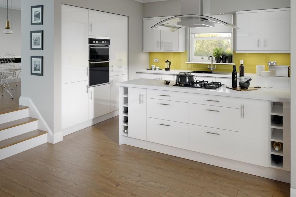 7 Unit Kitchen Paris White High Gloss Rapide Collection Kitchencraft