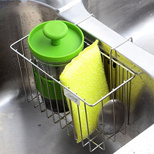 Modern Soap Dish for Bathroom or Kitchen Matte Silver Small Sponge Holder Made of Stainless Steel iDesign Sink Caddy with Double-Compartment