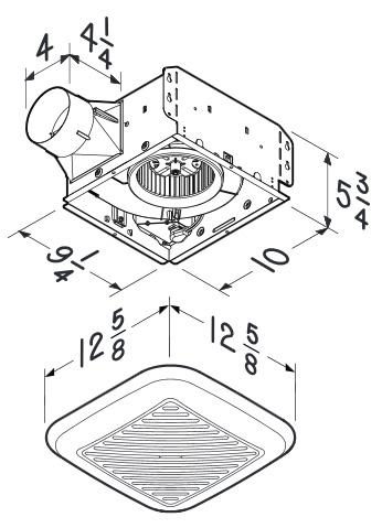 BRL-791LEDM Bathroom Fans InVent 110 CFM Fan/Light with