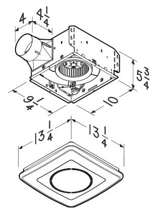 BRL-791LEDNT Bathroom Fans InVent 110 CFM Fan/Light with