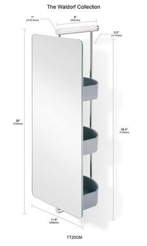 Bathroom Mirror  Waldorf Polished SS Swivel Mirror with