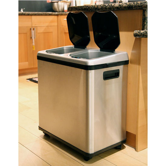bakers racks for kitchens kitchen design maker trash cans - 16 gallon dual-compartment stainless steel ...