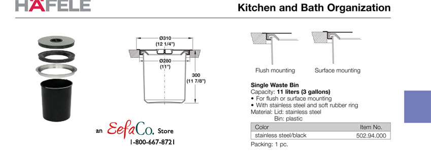 how many gallons is a kitchen trash can aid superba hafele built-in single waste bin for counter top - 12 ...