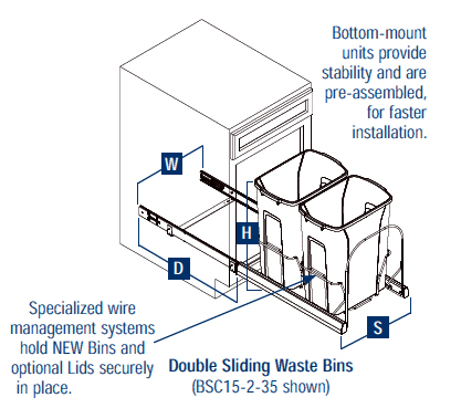 how many gallons is a kitchen trash can window treatment cans: free standing & built in under cabinet pull ...