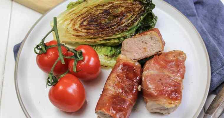 Schweinefilet im Speckmantel mit gebratenem Romanasalat
